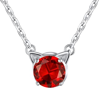 """SILVERCUTE Birthstone Jewelry for Girls 925 Sterling Silver Cute Cat Ear Pendant Necklace -Gift Packed, 16"""""""