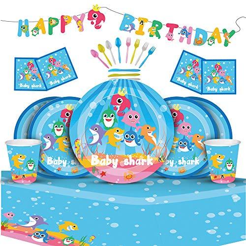 Pelabe Decoración para fiestas de cumpleaños con tiburón para niños y niñas, decoración de fiestas temáticas de tiburón.