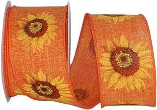 Reliant Ribbon 93217W-762-40F Sunflower Linen Wired Edge Ribbon, 2-1/2 Inch X 10 Yards, Tangerine