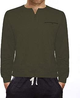 HEMCCI Men's Long Sleeve Henley T-Shirts Casual Slim Fit Striped Regular Fit Raglan Basic Cotton Shirts