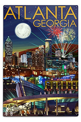 Lantern Press Atlanta, Georgia, Skyline at Night (12x18 Aluminum Wall Sign, Wall Decor Ready to Hang)