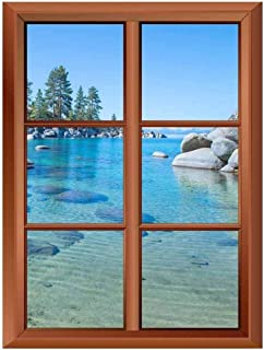 "wall26 Removable Wall Sticker/Wall Mural - Beautiful Blue Clear Water on The Shore of The Lake Tahoe - Creative Window View Vinyl Sticker - 24""x32"""