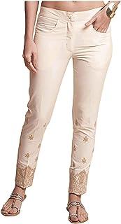NAARI Women 100% Cotton Embroidered Ankle Length Cigarette Pants - Slim Fit - Beige Color - 2 Pockets