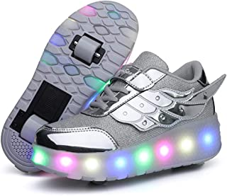 Zapatillas de LED, Zapatillas de Patines con Ruedas LED Light-UP, para Unisex Niños Niñas, USB Recargable, Ruedas Dobles I...