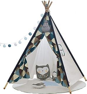 Vobajf Barn lektält tipi-tält för barn inomhus/utomhus hopfällbara tippar för barn småbarn lektält (färg: Blå, storlek: 11...