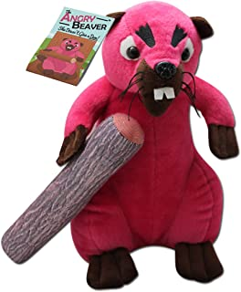 Angry Beaver - 30cm Pink Beaver Plush - 8 inches of Detachable Wood - Funny Gifts for Women