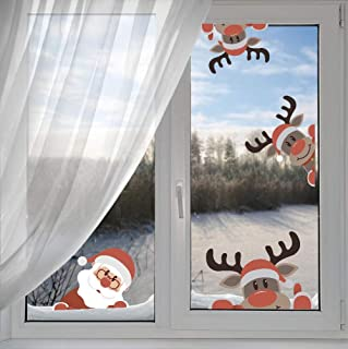 IARTTOP Reindeer Wall Decal with Santa Claus Wall Decal,Christmas Sticker for Kids Room Decor,Window Cling Decal,Christmas Party Decoration (10 pcs)