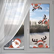 Arttop Reindeer Wall Decal with Santa Claus Wall Decal,Christmas Sticker for Kids Room Decor,Window Cling De...