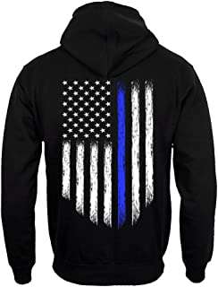Thin Blue Line USA Flag Police Men's Hoodie Sweatshirt