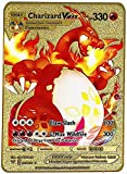 Cartas Pokemon Vmax DX GX Tarjeta de Metal Chapada Charizard Gold Custom Metal Card Tarjetas de Colección Plateadas para Niños y Adultos (1PCS Charizard -3)