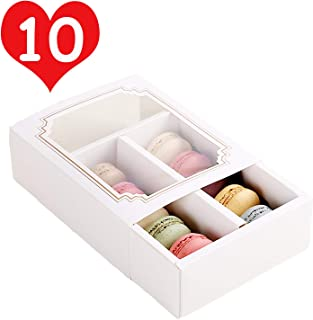 10 Packs Macaron Boxes 6.1x4.9x2 Inches, Macaron Box for 10 Macaron Packaging Boxes & Candies Cookies Container with Clear Window (Matte Gold, 10 Pcs without Macarons inside)
