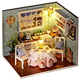 Oshide Puppenhaus Dollhouse DIY Kit Geschenk Mit Abdeckung und LED Licht(Küche)