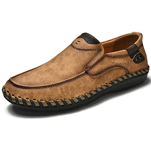 2f737f5b7ad44 Phefee Mens Comfy Lightweight Round Toe Shoes Mens Leather Loafer Flats  Moccasins Non-Slip Wider