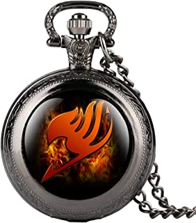 Fashion Black Pocket Watch for Kid, Cartoon Fairy Tail Pattern Pocket Watches for Girl, Creative Gift Pocket Watch with Chain for Teenager- JLYSHOP