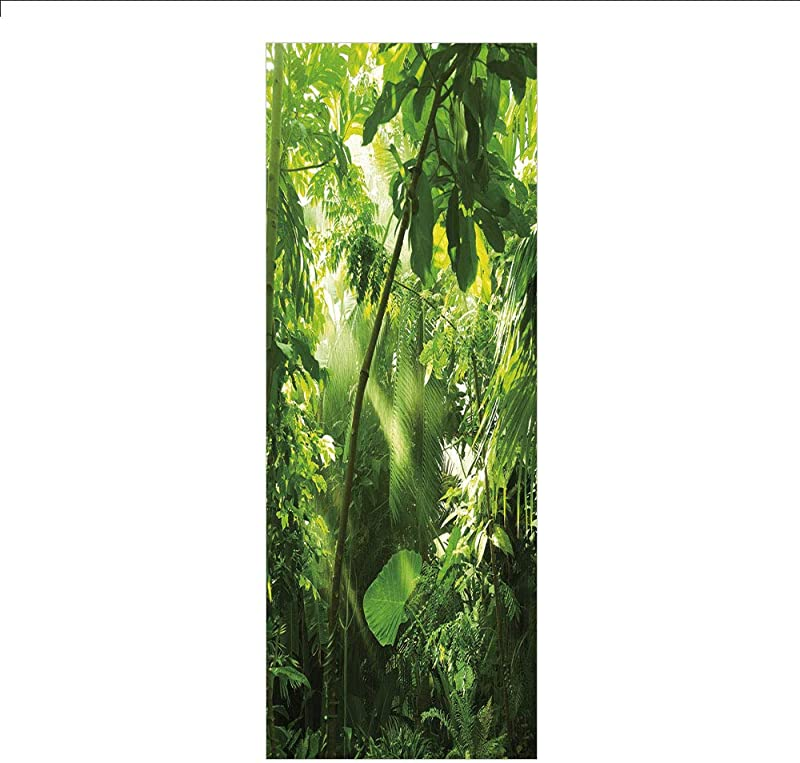 3D Decorative Film Privacy Window Film No Glue Plant Rain And Sun At Exotic Tropical Forest Jungle Undamaged Nature Brazil Rainforest Decorative Forrest Green For Home Office