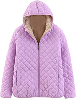 Macondoo Women's Thicken Hooded Cotton-Padded Coat Sherpa Lined Down Jacket