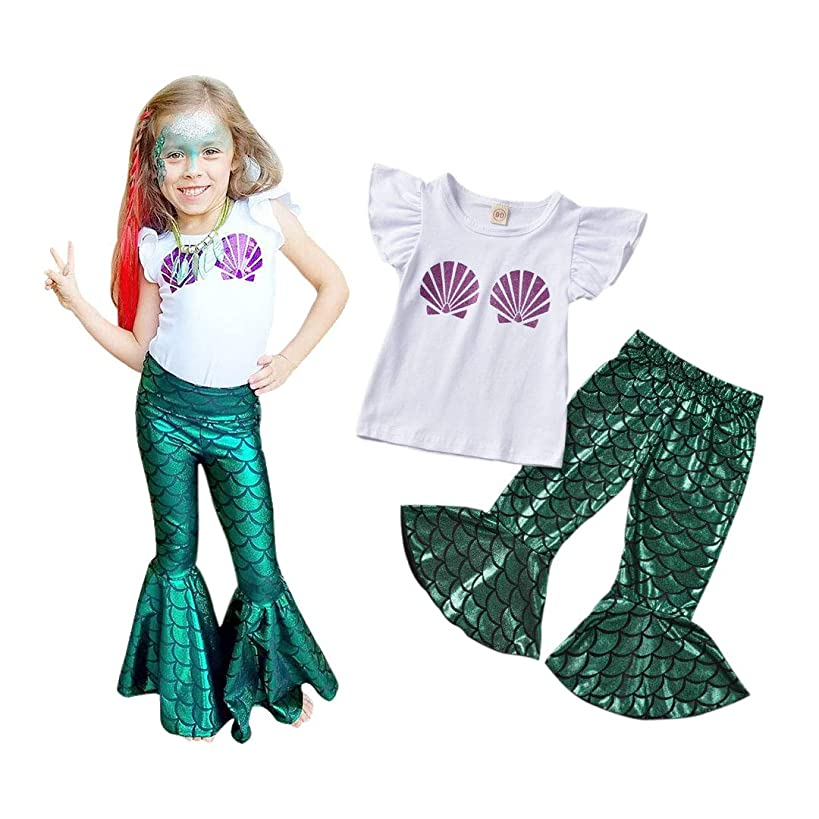 Toddler Baby Girls Clothes Mermaid Costume T-Shirt Top Bell Bottom Leggings Pant Sets