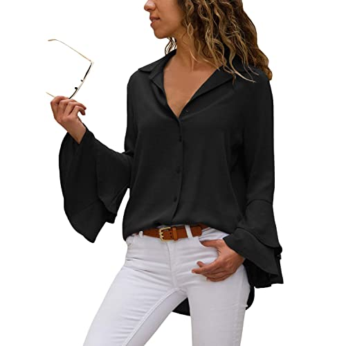0f39006cb9711 Asvivid Women Classic V Neck Shirt Layered Bell Long Sleeve Button Down  Solid Color Blouse Top
