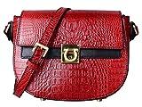 PIFUREN Crossbody Shoulder Bag Designer Leather Satchel Bags for Women (C68725 Red)