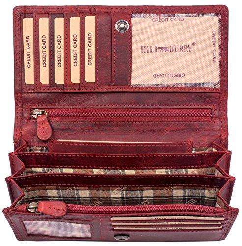 Hill Burry Leder Geldbörse | echtes Vintage Leder - XXL weiches Portemonnaie RFID (Rot)