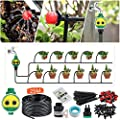 KINGSO Drip Irrigation Kit with Timer 82ft/25M Garden Irrigation System with Automatic Timer and 20 Adjustable Dripper Watering System for Garden Greenhouse, Flower Bed, Patio, Lawn