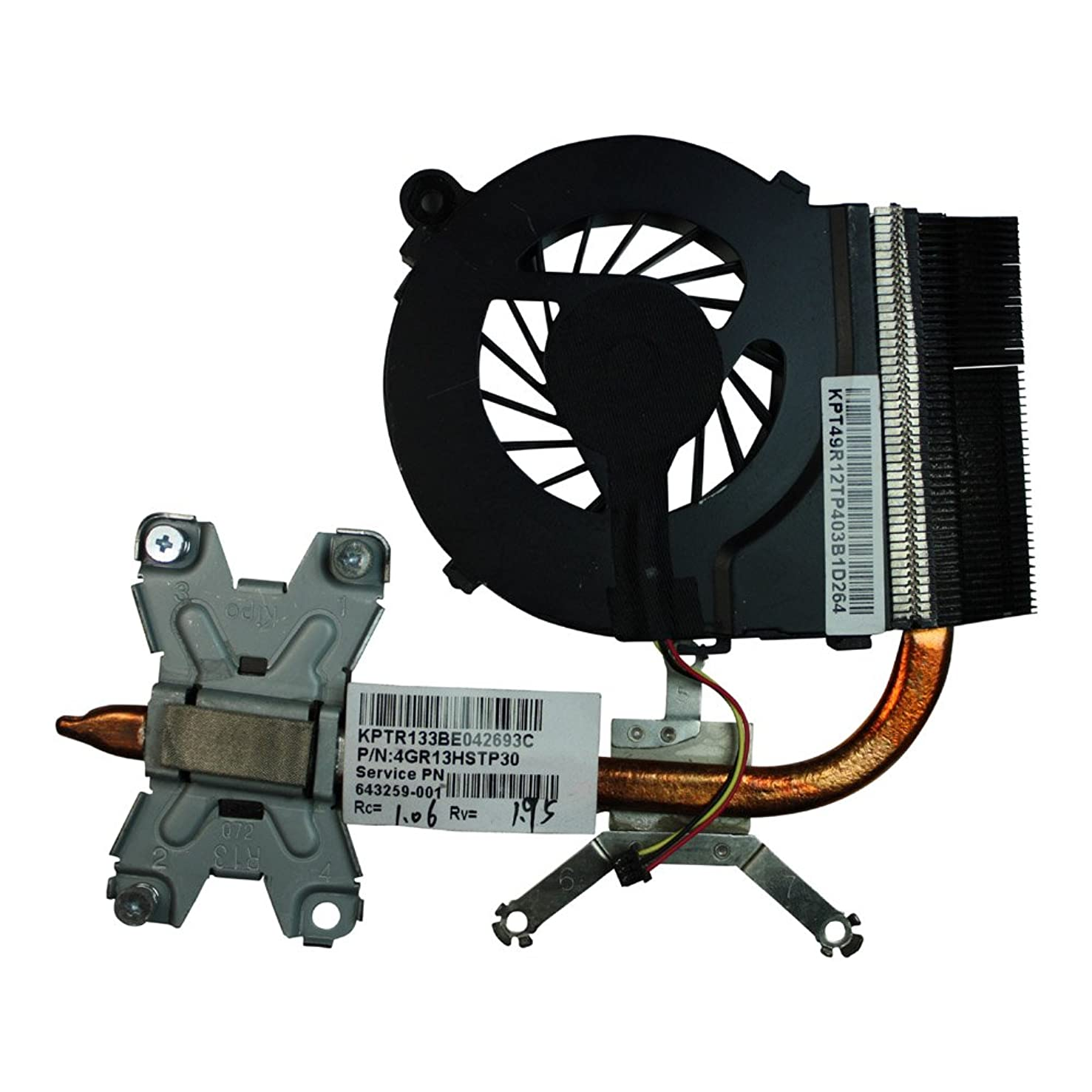 Power4Laptops Version 1 (Please Check The Picture) Compatible Laptop Fan with Heatsink Fits HP 643259-001, HP 646578-001, HP Pavilion G4-1000, HP Pavilion G4-1001TU, HP Pavilion G4-1001TX