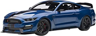 Ford Mustang Shelby GT-350R Lightning Blue with Black Stripes 1/18 Model Car by Autoart 72933