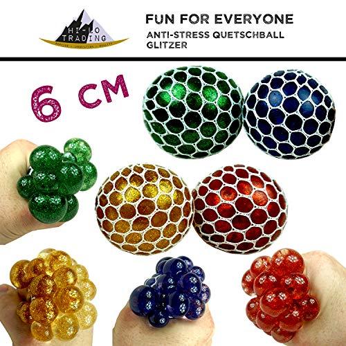 hi-lo 3X Glitzer Anti-Stress-Ball zum Kneten 6cm - Quetschball im Netz Glitter - Mitgebsel Kinder-Geburtstag Party