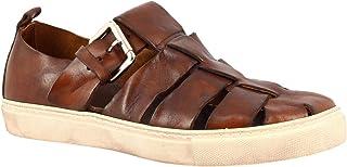 Leonardo Shoes Zapatos Abiertos de Punta Redonda Hechos a Mano para Hombres en Piel de Becerro marrón con Cierre de Hebill...