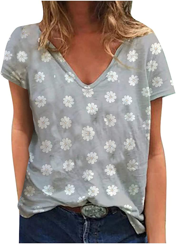 Womens Plus Size Short Sleeve Floral Printed Tops V Neck Loose Casual T Shirt Blouse