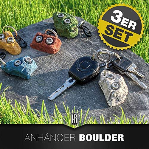 3ER SET Schlüsselanhänger Klettergriff/Boulderstein für Boulder- und Outdoorfans