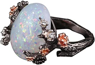 HIRIRI Jewelry Sparkling Accessories Wedding Engagement Anniversary Opal Ring Gold Diamond Gem