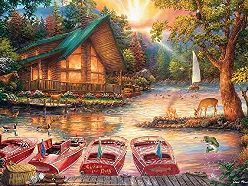 Pintura de diamante 5D casa taladro completo bordado de diamantes imagen de puesta de sol de diamantes de imitación paisaje costura decoración del hogar A3 45x60cm