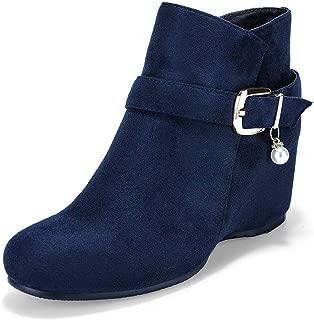 IDIFU Women's Spliced Side Block Heels Ankle Boots