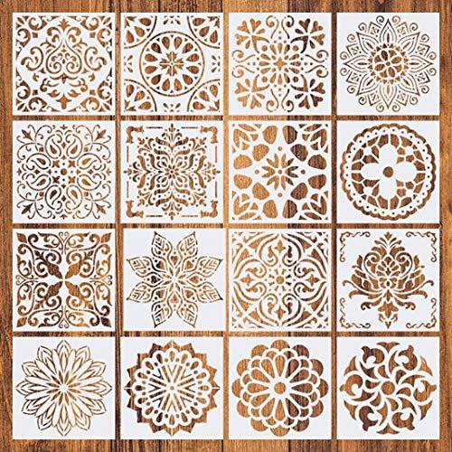 Plantillas de Mandala, Comius Sharp 16 Piezas Plantillas de Dibujo, Mandala Manualidades Painting Stencils, Reutilizables,cortadas con láser para Pintar Scrapbook Arte De Pared 15x15cm (Blanco)