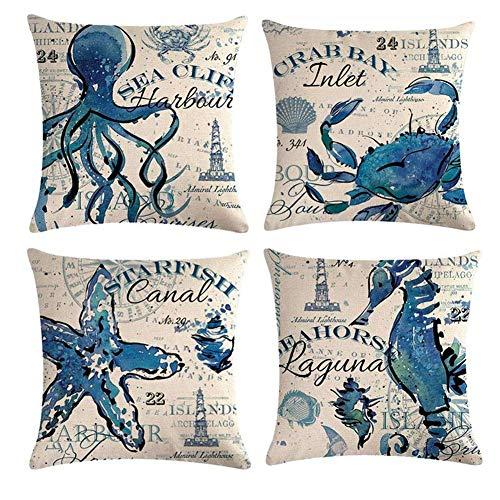 GSP Gspirit 4 Pack Cuscini Divano Oceano Ippocampo Polpo Cotone Biancheria Tropicale Decorativo Copricuscini Divano 45x45 cm