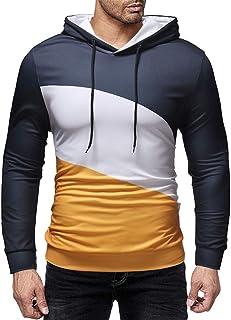 Men's Sweater Casual Slim Colorblock Hoodie Long Sleeve T-Shirt Comfort Sweatshirt