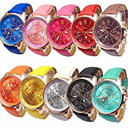 Boyiya women Watch, 10pc Geneva Women's Wholesale Roman Numerals Faux Leather Analog Quartz Watch Model 9298