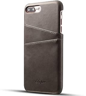 iPhone8Plusケース カード収納 2枚入れ レザーケース 手帳型 軽量 スマホ保護カバー 携帯保護ケース カードポケット 背面ポケット グレー アイフォン8Plusケース