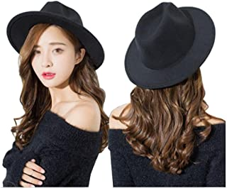 Black Wide Brim Wool Fedora Flat Hat Church Cap for Women Man Spring Autumn Winter Outdoor