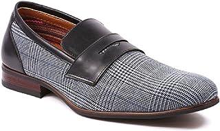 Ferro Aldo Men's 19371 Designer Plaid Print Slip On Penny Loafers Dress Shoes
