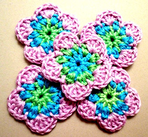Häkelblumen handmade 5 Stück Applikationen Nähen Bastelbedarf Ƹ̵̡Ӝ̵̨̄Ʒ ~ 3,5-4cm