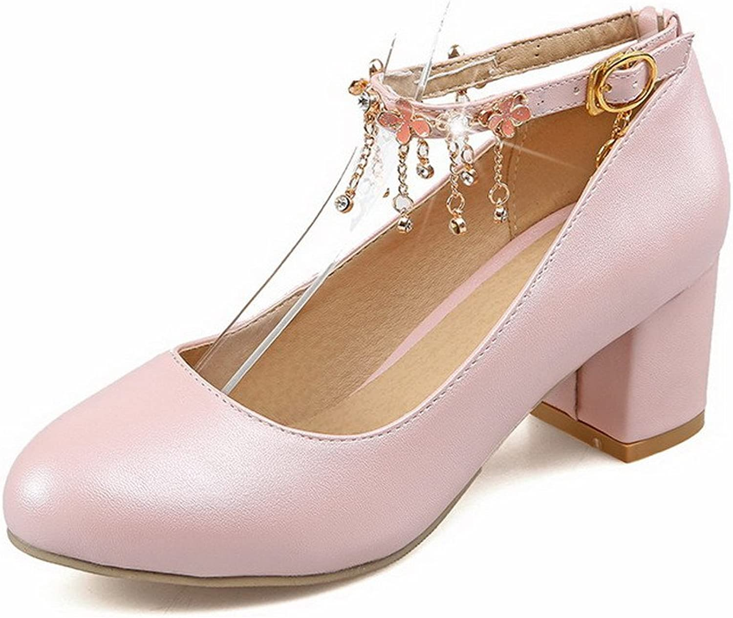 AmoonyFashion Women's Buckle PU Solid Round Closed Toe Pumps-shoes,BUSDT003298