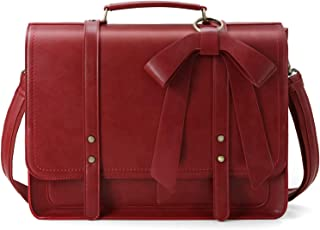 ECOSUSI Women Briefcase PU Leather Laptop Shoulder Satchel Computer Bag with Detachable Bow fits 15.6 inch Laptops, Red