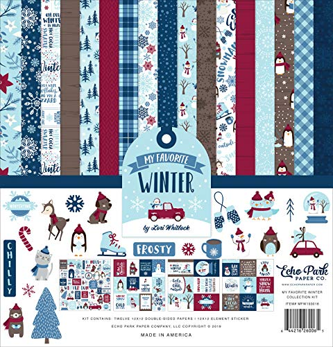 Echo Park Paper Company My Favorite Winter Collection Kit Papier, Rot, Blau, Blaugrün, Hellbraun