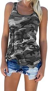 FRPE Womens Slim Beach Summer Camouflage Sleeveless Cotton Tank Top Cami Blouse Shirt
