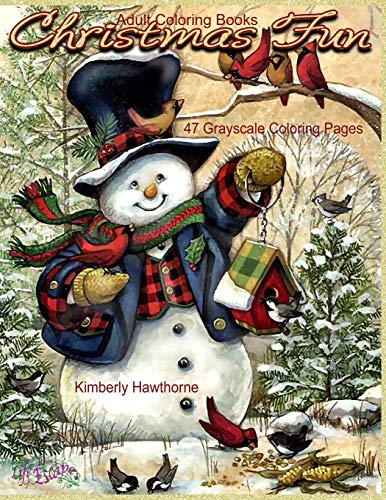 Adult Coloring Books Christmas Fun 47 Grayscale Coloring Pages: Beautiful grayscale images of Winter Christmas holiday scenes, Santa, reindeer, elves, ... tree lights (Life Escapes Christmas Fun)