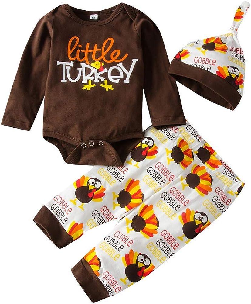 Newborn Boy Girls Boys Little Turkey Print Romper Bodysuit + Pants+Hat 3Pcs Outfit Set