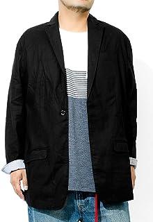 テーラードジャケット メンズ 大きいサイズ 綿麻 コットン リネン ストレッチ ロールアップ 無地 フォーマル ジャケット