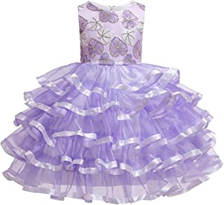 Zhhlaixing Girls Princess Dresses Kids Puffy Tulle Dress Sleeveless Ruffles Lace Special Occasion Dresses Pageant Long Dresses for Wedding Party Prom Ball Gowns Dress 2-14 Years